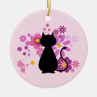Katze in der rosa Blumen-Kreis-Verzierung Keramik Ornament