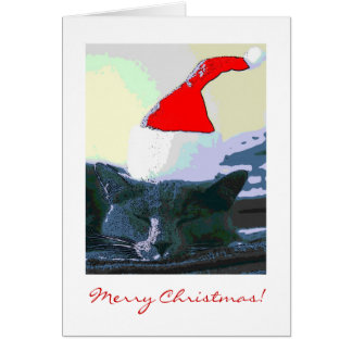 Katze in der Weihnachtsmannmütze, Weihnachtskarte Karte
