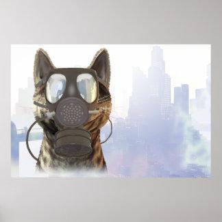 Katze in einem Gasmaske-Ökologieplakat Poster