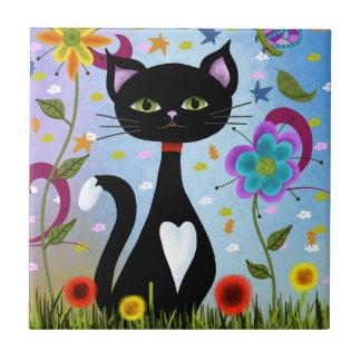 Katze in einer Garten-abstrakten Kunst Keramikfliese