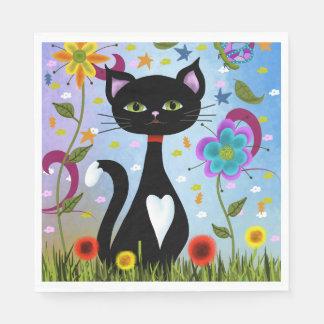 Katze in einer Garten-abstrakten Kunst Serviette