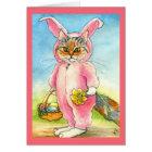 Katze in einer Häschen-Anzug Ostern-Karte Karte