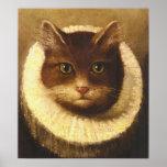 Katze in einer Kampfläufer-niedliche Poster