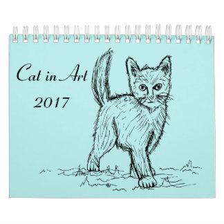 Katze in Kunst 2017 Wandkalender