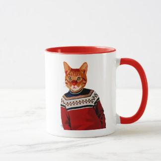 Katze in Ski-Strickjacke 2 Tasse