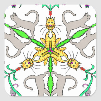 Katze kaliedoscope quadratischer aufkleber