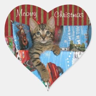 Katze, Kätzchen, Weihnachten, Rettung, Foto Herz-Aufkleber