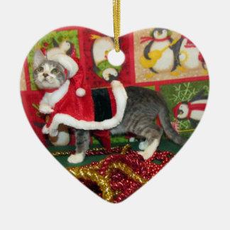 Katze, Kätzchen, Weihnachten, Rettung, Foto Keramik Herz-Ornament