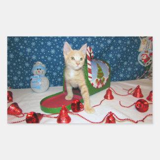 Katze, Kätzchen, Weihnachten, Rettung, Foto Rechteckiger Aufkleber