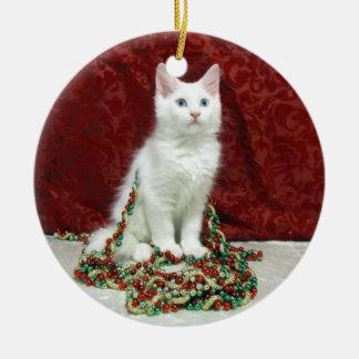 Katze, Kätzchen, Weihnachten, Rettung, Foto Rundes Keramik Ornament