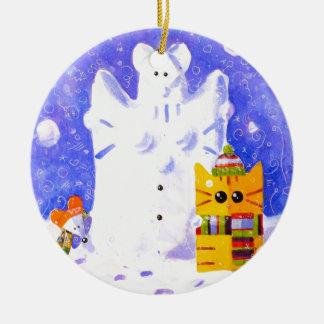 Katze, Maus und Schneemann Keramik Ornament