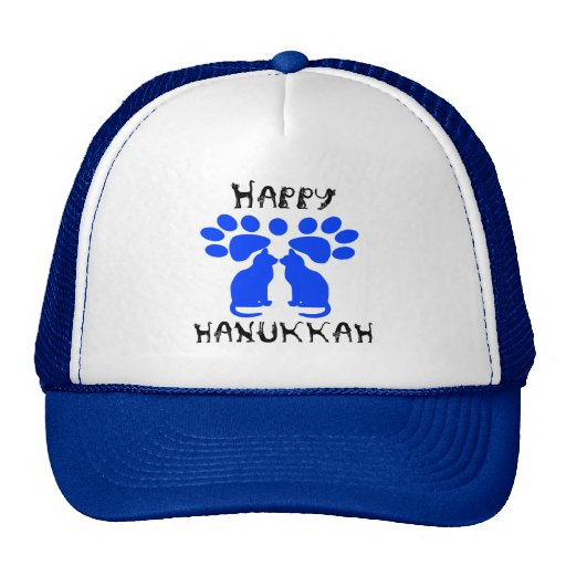 Katze Menorah glückliche Chanukka Hüte Baseballcaps