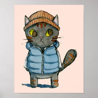 Katze mit Beanie und bekleiden unten Aquarell Poster
