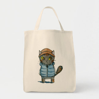 Katze mit Beanie und bekleiden unten Aquarell Tragetasche