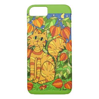 Katze mit chinesischer Laternen-Pflanze iPhone 8/7 Hülle