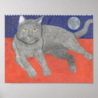 Katze mit dem Mond und den Sternen durch Julia Poster