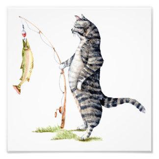 Katze mit einem Fisch Fotodruck