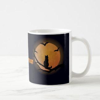 Katze mit einem Vollmond Halloween Kaffeetasse