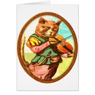 Katze mit einer Geige Karte