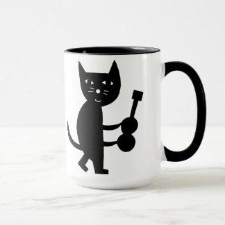 Katze mit einer Gitarre Tasse