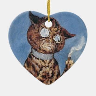Katze mit einer Zigarre Keramik Ornament