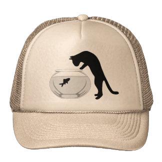 Katze mit Fisch-Schüssel-Hut Retrokappen