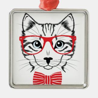 Katze mit Gläsern Quadratisches Silberfarbenes Ornament