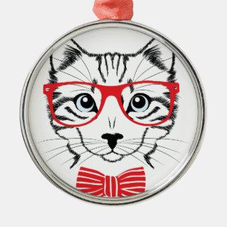 Katze mit Gläsern Rundes Silberfarbenes Ornament