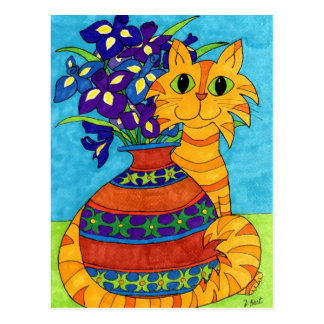 Katze mit Iris in Talavera-Vase Postkarte