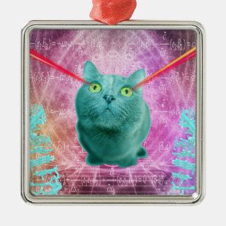 Katze mit Laser-Augen Silbernes Ornament