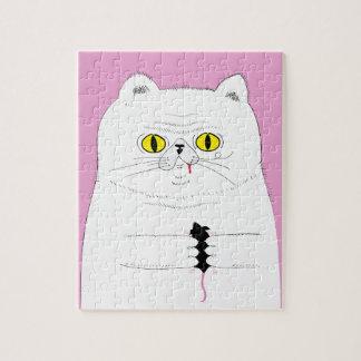 Katze mit Mäusedem lustigen Zeichnen Puzzle