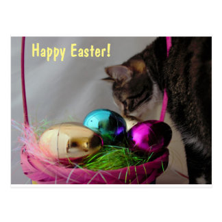 Katze mit Ostern-Korb Postkarte