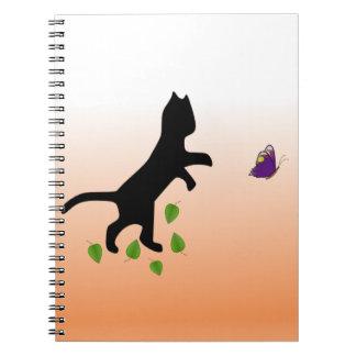 Katze mit Schmetterling Spiral Notizblock