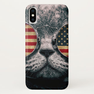 Katze mit Sonnenbrille - amerikanische Flagge iPhone X Hülle