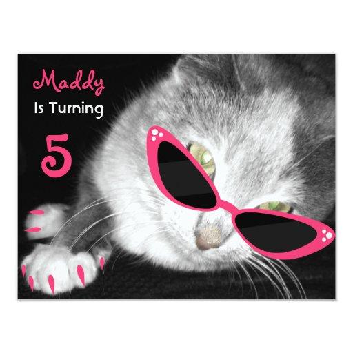 katze mit sonnenbrille geburtstags party laden ein 10 8 x 14 cm einladungskarte. Black Bedroom Furniture Sets. Home Design Ideas