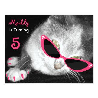 Katze mit Sonnenbrille-Geburtstags-Party laden ein Individuelle Einladung