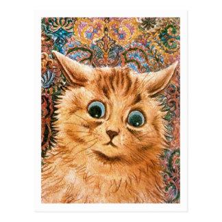 Katze mit Tapeten-Hintergrund Louis Wain Postkarte
