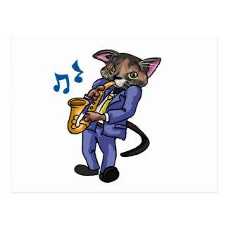 Katze Playin die Blues! Postkarte