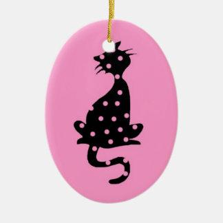 Katze Skizze Zeichnung schwarzer Humor rosa Erbse Keramik Ornament