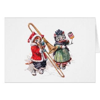 Katze spielt Trombone im Schnee Karte
