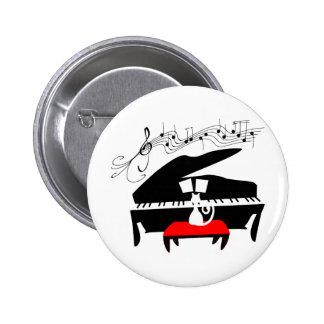 Katze u. Klavier Runder Button 5,7 Cm