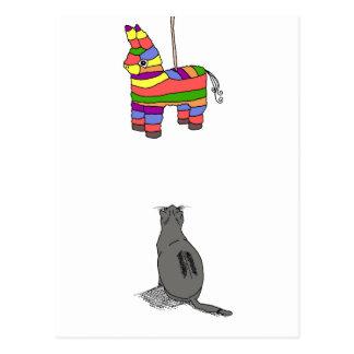 Katze u. Pinata - freier Raum Postkarte