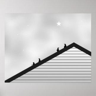 Katze u. Pinguine auf Dachspitze Poster