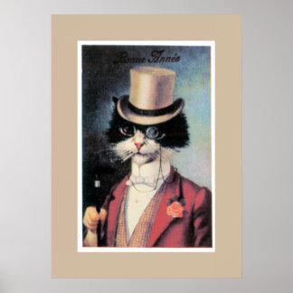 Katze über Stadt Plakat