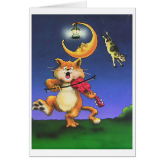 Katze und die der Geigen-Themakarte Kinder Karte