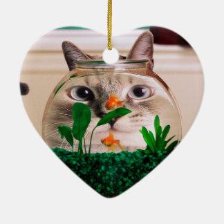 Katze und Fische - Katze - lustige Katzen - Keramik Herz-Ornament