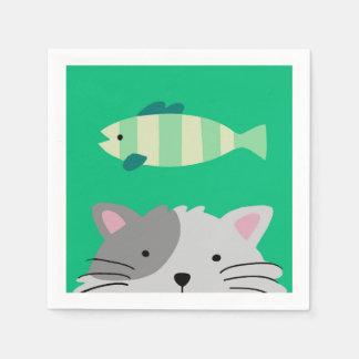 Katze und Fische Papierserviette
