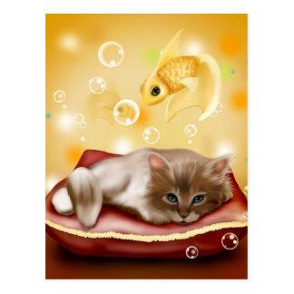Katze und Fische Postkarte