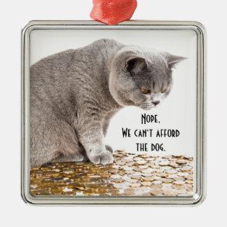 Katze und Hunde Humor Silbernes Ornament