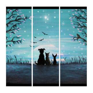 Katze und Hundwinter-Sonnenuntergang Triptychon